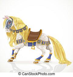 witte , mooi, gouden, gareel, koninklijk, manen, paarde