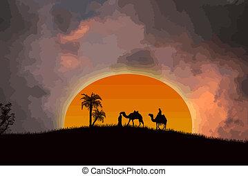 woestijn, ondergaande zon , sahara
