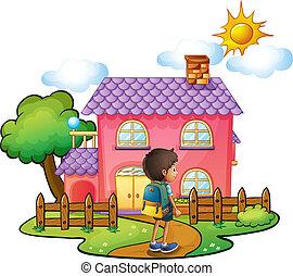 woning, jongen, roze, voorkant, groot