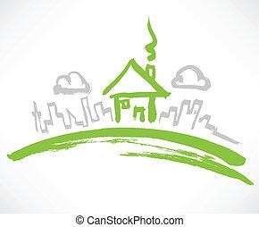 woning, weinig; niet zo(veel), groene