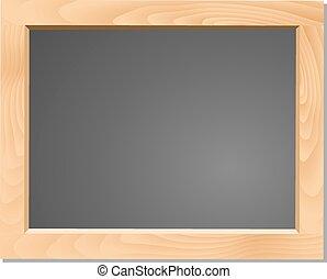 wooden table, black , chalkboard