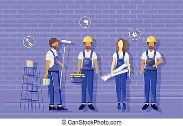 working., blueprint., visualising, helmen, blauwe , kleren, groep, vervelend, constructors, architecten, team