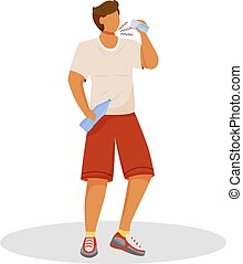 workout, dehydratatie, disease., plat, persoon, vrijstaand, water., dorstig, character., spotprent, symptoom, na, diabetes., bottle., vector, anoniem, illustratie, man, atleet, kleur, dranken