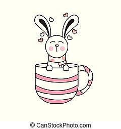 year., kerstmis, illustratie, rabbit., vector, konijn, trekken, schattig, kop, nieuw
