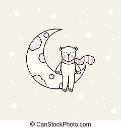 year., kerstmis, illustratie, vector, bear., trekken, beer, schattig, nieuwe maan