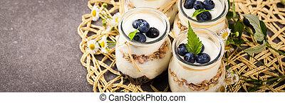yoghurt, bosbessen, dessert