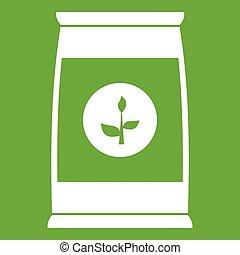 zaden, bloem, groene, pictogram, verpakken
