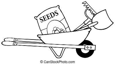 zaden, schets, kruiwagen
