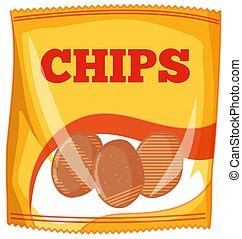zak, aardappel, witte , frites, achtergrond