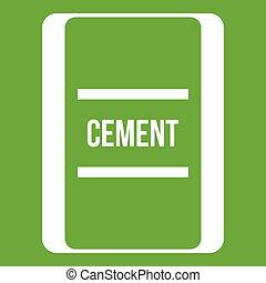 zak, pictogram, groene, cement, een
