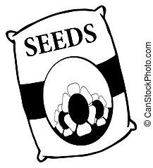 zak, witte bloem, black , zaden