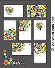 zakelijk, jouw, floral, vastgesteld ontwerp, kaarten, ornament