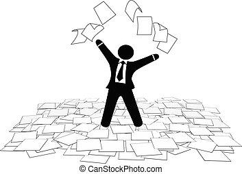zakelijk, vloer, pagina's, werken, lucht, papier, gooien, man
