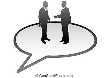 zakenlui, communicatie, binnen, tekstballonetje, praatje