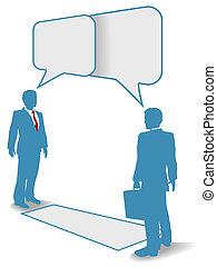 zakenlui, de mededeling verbindt, ontmoeten, praatje