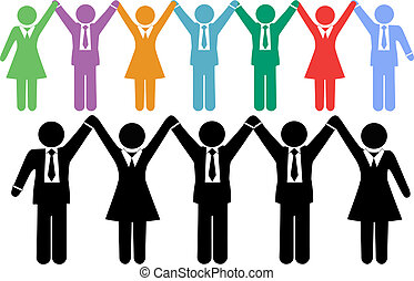 zakenlui, symbolen, holdingshanden, vieren