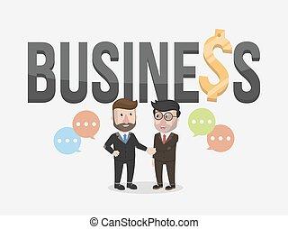 zakenman, handdruk, twee