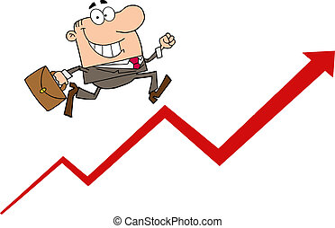 zakenman het lopen, vrolijke , omhoog