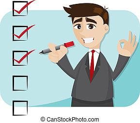 zakenman, spotprent, controlelijst