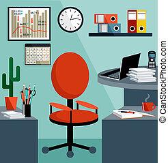 zakenuitrustingen, objects., kantoor, spullen, werkplaats
