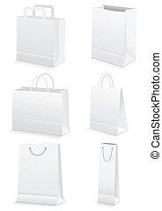 zakken, grocery boodschapend doend, &, papier, leeg