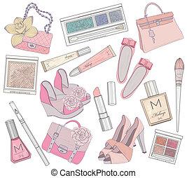 zakken, schoentjes, makeup, elemen, vrouwen