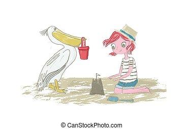 zand, sandcastle, textuur, hand, vector, getrokken, pelikan, achtergrond, strand, spelend, wit haar, meisje, geitje, potlood, illustratie, rood, vrijstaand, -
