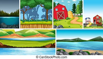 zes, anders, scènes, plaatsen, natuur