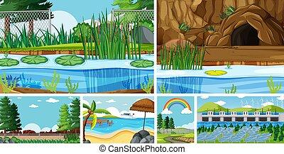 zes, plaatsen, natuur, anders, scènes