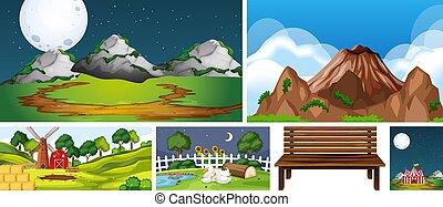 zes, scènes, anders, plaatsen, natuur