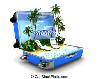 zet op het strand vakantie, verpakken