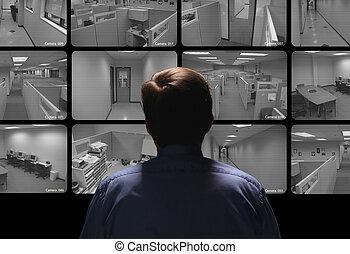 zich het gedragen, schouwend, bewaking, conducteur, veiligheid, enigszins, monitors