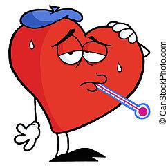 ziek, hart, rood, thermometer