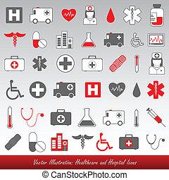 ziekenhuis, gezondheidszorg, iconen