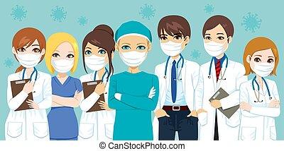 ziekenhuis, medisch team, maskers