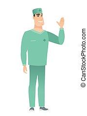 zijn, arts, hand., jonge, zwaaiende , kaukasisch