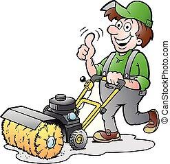 zijn, illustratie, machine, vector, vegen, spotprent, tuinman, vrolijke