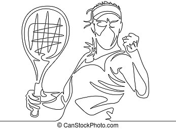 zijn, tennis, voortdurend, een, speler, vrouw, fist, clenches, positie, lijn, innemend, tekening