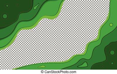 zomer, abstract, papier, groene achtergrond, golven
