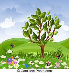 zomer, boompje, jonge, landscape