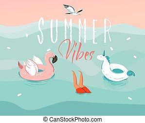zomer, jongen, grafisch, typografie, ring, springt, flamingo, vrijstaand, vector, vibes, hand, liggen, eenhoorn, zwemmen, oceaan, getrokken, abstract, illustratie, achtergrond, rubber, golf