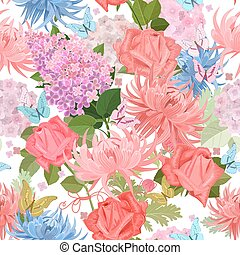 zomer, kleurrijke, f, butterflies., seamless, textuur, bloemen
