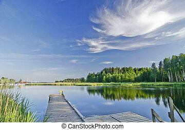 zomer, levendig, hemel, meer, kalm, onder