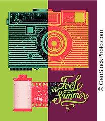 zomer, poster., typografisch, retro