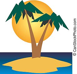 zomer, reizen, vector, strand, illustratie