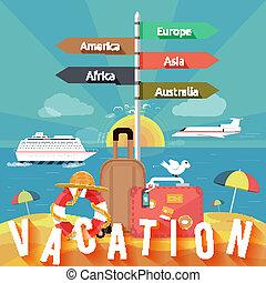 zomer, set, iconen, vakantie, planning, het reizen