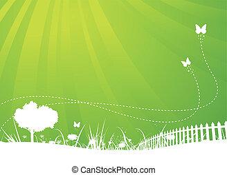 zomer, vlinder, tuin, achtergrond, lente