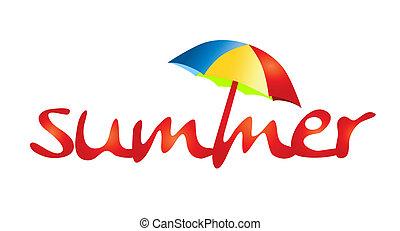 zomervakantie, -, schaduw, zon