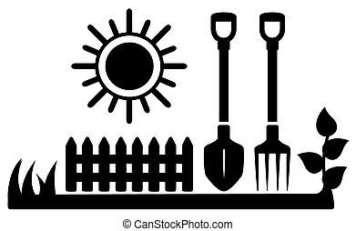 zon, pictogram, het tuinieren hulpmiddelen, black