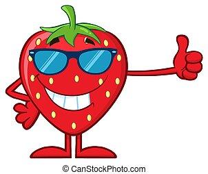 zonnebrillen, duim, geven, karakter, op, aardbei, fruit, het glimlachen, spotprent, mascotte